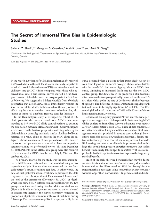 The Secret of Immortal Time Bias in Epidemiologic Studies
