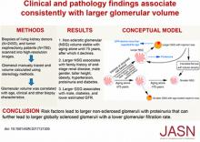 Clinical and Pathology Findings Associate Consistently with Larger Glomerular Volume